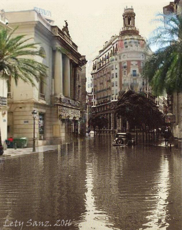 Calle Las Barcas, efectos de la riada del 57. (1957-2016)